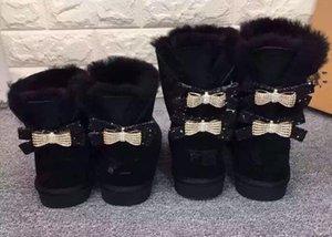 Novas Mulheres Clássicas de Alta Qualidade Única Ou Dupla Diamantes Botas De Neve Arco-nó Diamantes Da Água Coroa Quente E Grosso Couro Sapatos De Algodão