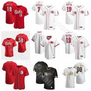New 2020 Baseball Homme Femme Enfant 15 Nick Senzel Jersey Mike 9 Moustakas 3 Freddy Galvis 33 Jesse Winker 27 Trevor Bauer Cooperstown