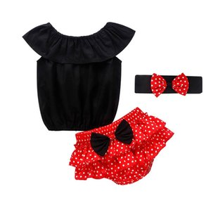 Ins 2020 Summer cute baby girls suits dots girls outfits Tops+Ruffle Shorts+bows headbands 3pcs set Infant Outfits baby girl clothes B1485