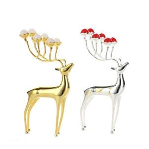 Fontes luxuosos titulares cervos Vela Aço Inoxidável Candle Holder Centerpieces Candelabra Festa de Natal Decoração do casamento Candlestick