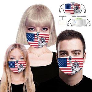 Унисекс 3D Anti-Dust Cotton Washable и многоразовый маска Проектировщик маска для лица Подходит для взрослых и детей со сменным 5 Layer EEA1564