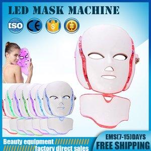 PDT 7 LED العلاج بالضوء وجه آلة الجمال LED الوجه الرقبة قناع للبشرة تبييض جهاز دي إتش إل الحرة الشحن