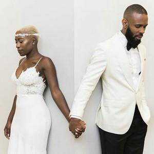 Ternos Custom Made MenTuxedos o noivo do casamento Marfim 2piece Slim Fit Partido Evening Traje Masculino Terno Homme trajes melhor homem Blazers Prom