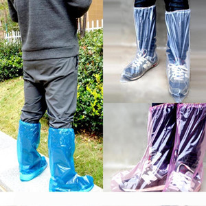 Long Shoe Covers 3 Colors Waterproof Disposable Plastic Anti-skid Protector Boots Covers Household Dustproof Overshoes LJJO7781