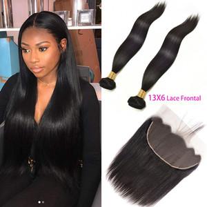 6 Dantel Frontal Düz Virgin Saç Uzantıları 3 Pieces tarafından 13 ile Malezya İnsan Saç 2 Paketler / lot Saç wefts 13x6 Dantel Frontal ile