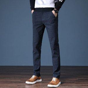 Мужские штаны 2021 бренд мужская весна лето случайные мужчины полосатые микро эластичные прямые брюки плюс размер 38