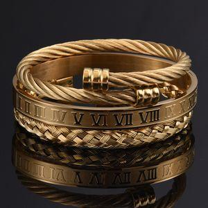 Bracciale uomini 3pcs / Set in numeri romani a mano in acciaio inox corda della canapa monili di lusso Fibbia braccialetti aperti Pulseira Bileklik