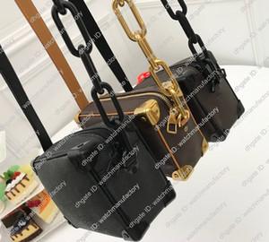 Designer-Tasche Box Soft-Trunk-echtes Leder-Umhängetasche Handtaschen Wraped Winkel Matel Ketten Satchel Beutel-Geldbeutel Mini Zippy Tote