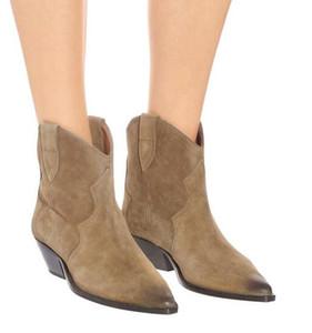 Mükemmel Yeni Yayın Isabel Dewina Süet Ayak Bileği Çizmeler Moda Paris Marant Batı Kovboy Ayakkabı Ayakkabı Çizmeler