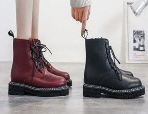 2019 hot selling Women punk boots winter autumn shoes women black red boots low heels motorcycle women short boots