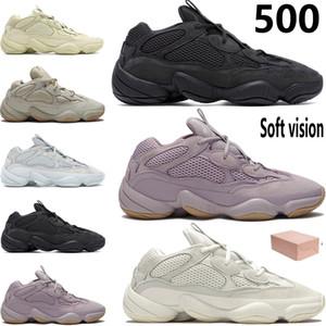 yansıtıcı Kanye West Çöl sıçan kutusu ile yumuşak vizyon taş kemik beyaz erkekler kadınların stilist spor ayakkabıları eğitmenler koşu ayakkabıları 500 erkek