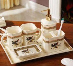 2020 Horse Print Modern Bathroom Decoration Contracted Bathroom Set 5  6 Pieces European Style Ceramic Wedding Gift