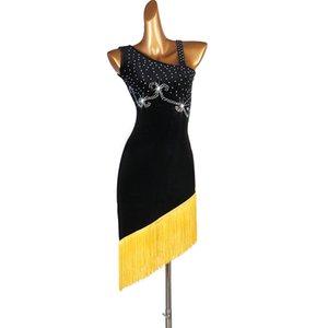Robe sur mesure Latin Dance strass Fringe Jupe Competiton Dancewear Club des femmes Robe Voir Rumba Latin Dance Costume 1456
