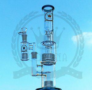 Tubos de água de cachimbo de água Percolater com chuveiro Corona Birdcage Percolater waterpipe bowl com microscópio de dupla matriz Klein Recycler pink glass bong
