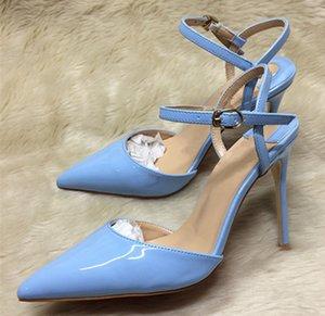 para mujer de charol rojo punta estrecha bombas inferior tacones altos zapatos de mujer de talón abierto zapatos de las señoras de la hebilla de la correa de la fiesta de boda tacones de aguja c22
