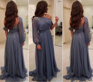 2020 Modest с плеча с длинным рукавом мать невесты платья с бисером Ruched шифон свадебное платье для гостей A Line невесты партии Платья