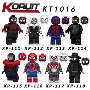 8pcs / lot Avengers Building Blocks Juguetes Spiderman Kopf juguetes del bloque de ladrillos muñeca ABS Minifig figuras de acción juguetes de los cabritos de DHL