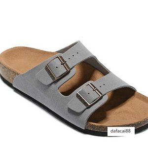Hot Sale- Women Casual Shoes Double Buckle Famous Brand Arizona Summer Beach Top Quality Genuine Leather Slippers With Orignal Box