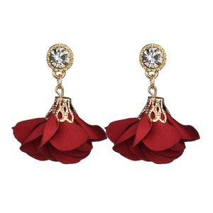 New Fashion Zinc Alloy Flash Rhinestone With Cloth Fabric Beautiful Flowers Stud Earrings For Women E799