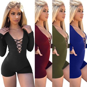 Summer Women's Jumpsuits Long-sleeve Sexy Nightclub Jumpsuits for Women Polyester Skinny Ribbon Lady's Clothing Rompers 5colors S-XL0.0