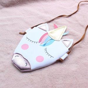 Einhorn Geldbörse Kind Diagonal Cross Bag Kid Schöne PU Helle Farbe Wrap Outdoor Shopping Weiß Bunt 10dt C1