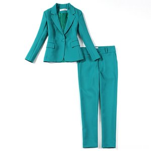 Professional womens suit pants two sets Autumn Slim Green Ms Jacket Small Suit Women's Suits & Blazers Women's Clothing Female Office Workwe