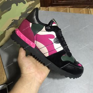 New Fashion Stud Camouflage Sneakers Shoes Footwear Men Women Flats Luxury Designer Rockrunner Trainers Casual Shoes Sneakers chaussures