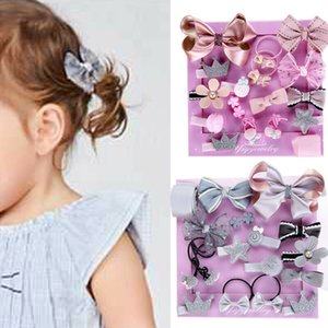 Cute 18Pcs Kids Baby Girl Sweet Rubber Band Bow Hair Clips Flower Barrette Pins Gift 2019