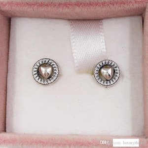 Authentic 925 Sterling Silver Studs Forever Pandora Heart Earring Studs Fits European Pandora Style Studs Jewelry 297709CZ