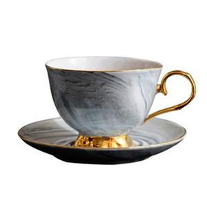 Мрамор Пномпень керамическая чашка кофе и блюдце набор послеобеденный чай чашки любителей подарки(серый)