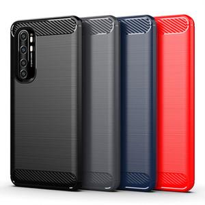 Caso de fibra de carbono cepillado suave de TPU para Xiaomi redmi Nota 8 9 10 Lite Pro Nota 9 MI10 Pro Mi8 MI9 K30