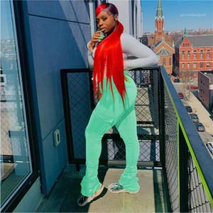 Карманные штаны Designer Solid Color Drawstring Тонкий брюки Женщины Мода Spotpants Повседневная одежда Женская Flare штабелях