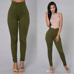 Cintura alta Skinny Jeans Womens doces colorem Zipper Lavados sexy slim Womens Calças Feminino Casual Calças lápis