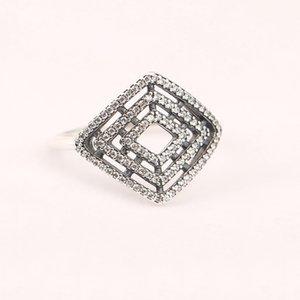 Todos los anillos para mujer 50 S925 plateados se ajustan para anillos de estilo pandora Anillo de líneas geométricas 196210CZ H8ale