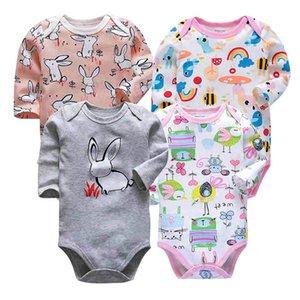 Tender Babies recém-nascido Bodysuits bebê 4 peças / lote bebês criança 3-24 meses de manga comprida roupas infantis meninos meninas corpo terno
