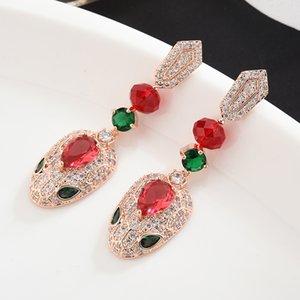 Серьги для fashion-женщин Bling Цирконий 18K позолоченный Snake уха Коты Индивидуальность Dnagle серьги ювелирные изделия
