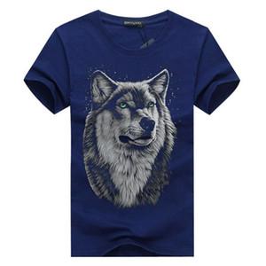 manga corta de la nueva marca de Verano de gran tamaño de la cabeza del lobo 3D hombre de la camiseta de cuello redondo manga corta camiseta hombres camiseta de la manera