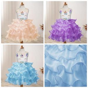 Girls Unicorn Princess Dresses Baby Wedding Dress Girls Gauze Strapless Dress Toddler Performance Skirt Kids Designer Clothes AAA1155