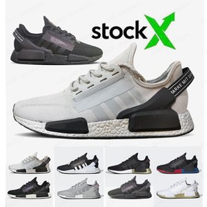 2020 Cheap Classic NMD R1 V2 Running Shoes Stock X Black Grey Triple Black Women Mens Trainers Sports Sneakers 36-45