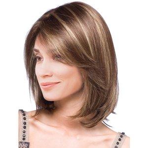 """14"""" Mulheres Bob curto de várias cores sintética reta perucas de cabelo com Cap Medium Brown"""