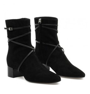 Brand New Black Suede Leather Prue Ankle Boots Women Chunky Heels Pointed Toe Best Designer Boots Cool Winter Fashion Booties