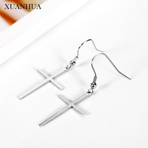 XUANHUA Crosses Drop Earrings For Women Stainless Steel Jewelry Woman Vogue 2020 Long Earrings Summer Jewelry Accessories