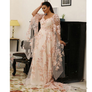 Fabulous Lace Plus Size Prom Dresses champagne blush Scoop Neck Long Sleeves Evening Gowns Sweep Train A Line Formal Dress