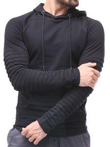 Primavera magro dos homens Fold Designer Hoodies Plus Size moleton Streak manga comprida cor sólida Mens Clothing