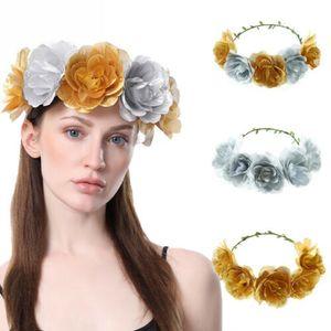 Mode Ronde solide Couvre-chef Bridal Rose Kegon élastique Couronne Bandeau mariage Hairband