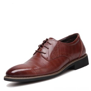 2016 New High Quality Genuine Leather Brogues, Lace-Up Bullock Business Men Oxfords Men Dress Shoes size Casual Shoes 45