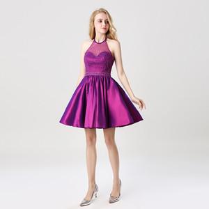 SD401 En Stock Halter Neck Beaded Homecoming Dresses Une ligne courte Mini robes de soirée de bal Robes Occasion spéciale moins de 30 $