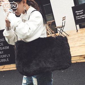 Winter faux fur tote big women bag high fashion natural soft hair lock handbags famous Spanish hand bags