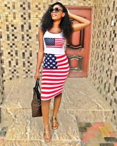 Печать сексуальные женские 2шт летнее платье тощие дамы два кусок наборы Полосатый принт Женская одежда флаг США