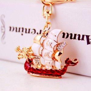 Dragon Boat Festival estilo chinês cadeia de pequeno presente criativo diamante barco de dragão chave do carro suavizar pingente de vela de suspensão de metal